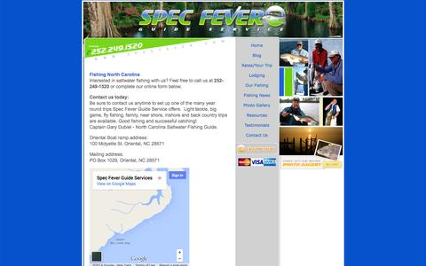 Screenshot of Contact Page specfever.com - Salt Water Fly Fishing Guide North Carolina - captured Oct. 7, 2014