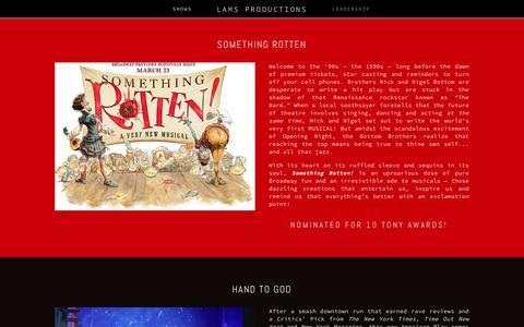 Screenshot of Press Page lamsproductions.com - Shows Ń LAMS Productions - captured Dec. 5, 2015
