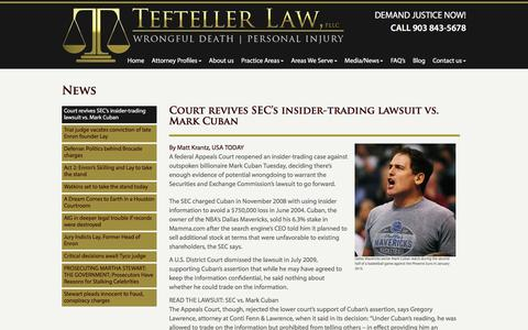 Screenshot of Press Page teftellerlaw.com - News - Tefteller Law, PLLC - captured Feb. 24, 2016