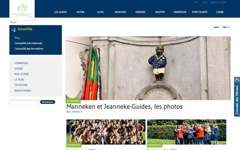 Screenshot of Blog guides.be - Blog des Guides | Les Guides - captured Sept. 26, 2015
