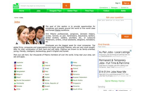 Screenshot of Jobs Page buhayofw.com - Jobs hire recruit top best Filipino workers, outsource au pair, nannies, caregivers, domestic helpers, freelancers, jobs, sports clubs, friendship clubs for Filipinos, business clubs, Angel investor, opportunities, Organizations para sa Overseas Fili - captured June 3, 2017