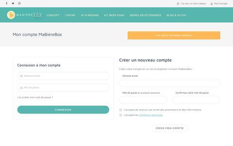 Screenshot of Login Page mabierebox.fr - Mon compte MaBièreBox - captured June 27, 2018