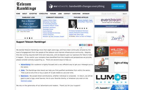 Screenshot of Support Page telecomramblings.com - Support Telecom Ramblings!   Telecom Ramblings - captured July 1, 2017