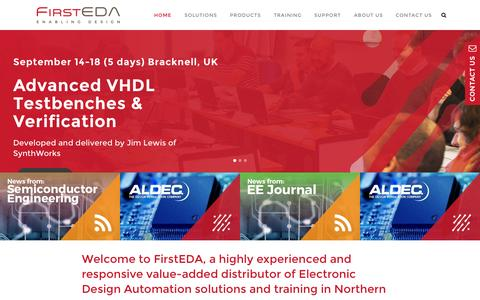 Screenshot of Home Page firsteda.com - FirstEDA | Software and Hardware Solutions for Electronics Design and Verification - captured Aug. 3, 2015