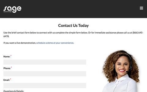 Screenshot of Contact Page sageadvantage.com - Contact us to learn how to improve your call center and customer service - captured Aug. 17, 2019