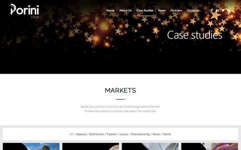 Screenshot of Case Studies Page porini.it - Porini - Case Studies - Markets - captured July 5, 2018