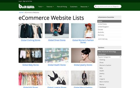 Screenshot of builtwith.com - Lists of Ecommerce Websites and Stores Globally | BuiltWith - captured Jan. 11, 2018
