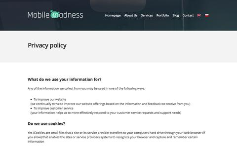 Screenshot of Privacy Page mobilemadness.pl - Privacy policy - captured Feb. 22, 2016