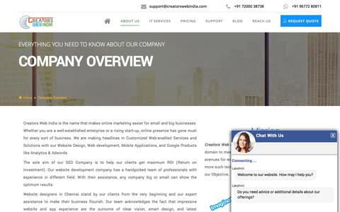 Screenshot of About Page creatorswebindia.com - Leading Web Design Company | Website Outsourcing Companies in India - captured July 23, 2018