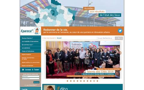 Screenshot of Home Page epareca.org - Epareca, vie et commerce au coeur des quartiers - captured May 19, 2017