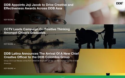 Screenshot of Press Page ddb.com - DDB Worldwide     News - captured Jan. 7, 2016