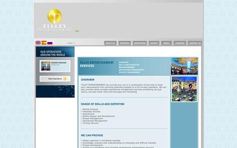 Screenshot of Services Page tilleyent.com - TILLEY ENTERTAINMENT > - captured Oct. 7, 2014