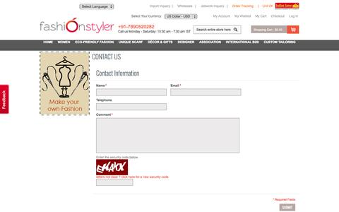 Screenshot of Contact Page fashionstyler.clothing - Fashion Styler Commerce - captured Oct. 27, 2014