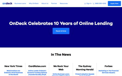 Screenshot of Press Page ondeck.com - In The News | OnDeck News and Press Releases | OnDeck - captured June 5, 2018