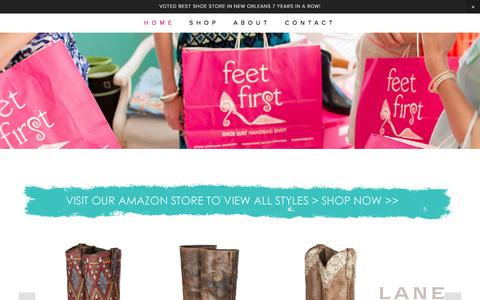 Screenshot of Home Page feetfirststores.com - Feet First Shoe Store - captured Feb. 9, 2016