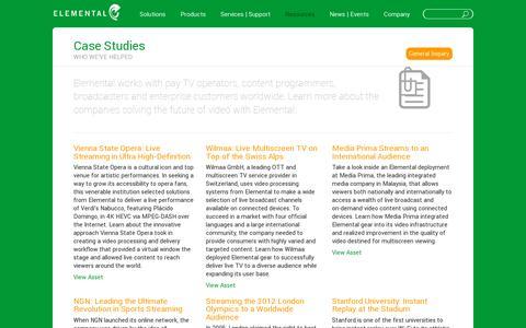 Screenshot of Case Studies Page elementaltechnologies.com - Case Studies: Who we've helped | Elemental Technologies, Inc. - captured July 18, 2014