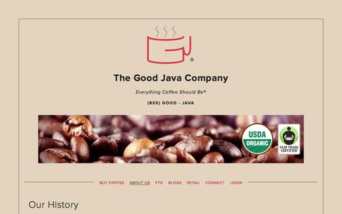 Screenshot of About Page thegoodjava.com - About Us — The Good Java Company - captured Feb. 15, 2016