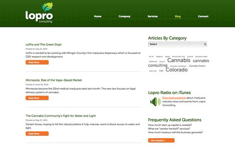 Screenshot of Blog loproconsulting.com - Lopro Marijuana Consultants Blog | LoPro Consulting - captured Sept. 30, 2014