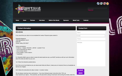 Screenshot of Contact Page rawkzilla.com - Contacts     Rawkzilla - captured Oct. 26, 2014
