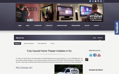 Screenshot of About Page newjerseyinstalls.com - Fully Insured Home Theater Installers in NJ | HT Install NJ - captured Oct. 1, 2014