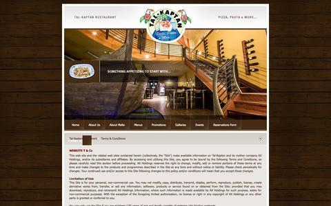 Screenshot of Terms Page tal-kaptan.com - Tal-Kaptan Restaurant Malta - Malta Pizzeria : Terms & Conditions - captured Oct. 27, 2014