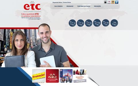 Screenshot of Home Page etcintercambio.com.br - ETC Agência de Intercâmbio - Faça Intercâmbio na Austrália e Intercâmbio na Nova Zelândia com a Agência de Intercâmbio preferida dos brasileiros na Austrália: - captured Oct. 1, 2014
