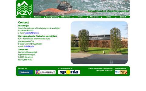 Screenshot of Contact Page kzv.be - KZV - Kalmthoutse Zwemvrienden - captured Oct. 28, 2018