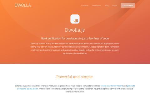 Screenshot of dwolla.com - Integrate a bank account verification api quickly - captured Dec. 30, 2017