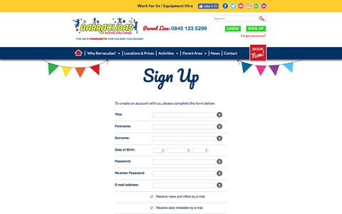 Screenshot of Signup Page barracudas.co.uk - Activity Day Camps for Children | Barracudas Kids Camps - captured June 27, 2017