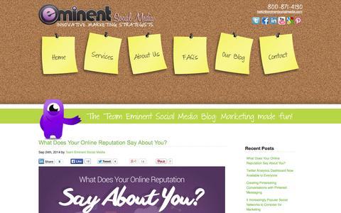 Screenshot of Blog eminentsocialmedia.com - The Eminent Social Media Blog - Marketing Tips and Strategy - captured Sept. 29, 2014