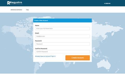 Screenshot of Signup Page brandedego.com - Regystro Domains - captured Oct. 6, 2018