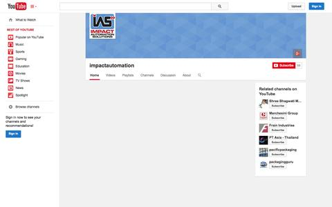 Screenshot of YouTube Page youtube.com - impactautomation  - YouTube - captured Oct. 23, 2014