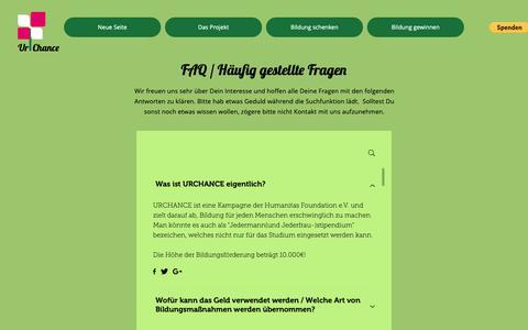 Screenshot of FAQ Page urchance.org - urchance   FAQ's - captured Dec. 11, 2018