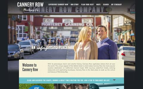 Screenshot of Home Page canneryrow.com - Cannery Row | Official Resource for Lodging, Dining and Shopping in Monterey, California - captured Jan. 19, 2016