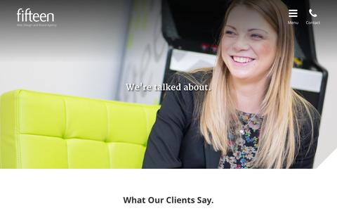 Screenshot of Testimonials Page fifteendesign.co.uk - Client Testimonials - What Our Clients Say - captured Aug. 2, 2015
