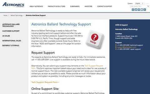 Screenshot of Support Page astronics.com - Astronics Ballard Technology Support - captured Nov. 22, 2016