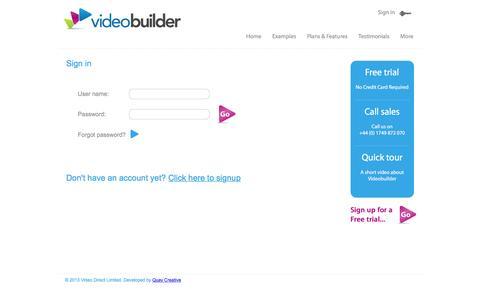 Screenshot of Login Page videobuilder.tv - Sign in | Videobuilder.tv - captured March 17, 2016