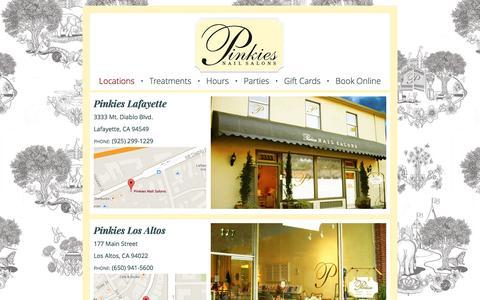 Screenshot of Locations Page pinkiesnailsalons.com - Pinkies Nail Salons - Locations - captured July 13, 2016
