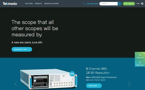 Screenshot of Home Page tek.com - Test and Measurement Equipment | Tektronix - captured May 18, 2017