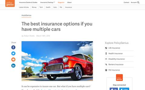 The best insurance options if you have multiple cars | PolicyGenius