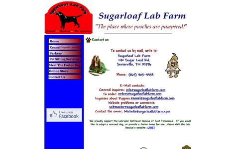 Screenshot of Contact Page sugarloaflabfarm.com - Sugarloaf Lab Farm contact information - captured Oct. 8, 2014