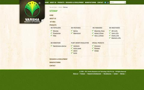 Screenshot of Site Map Page varshabioscience.com - Sitemp - captured Oct. 25, 2014