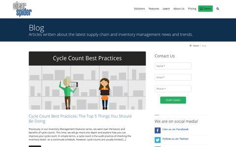 Screenshot of Blog clearspider.com - Blog | Clear Spider Inventory Management Solutions - captured April 8, 2018