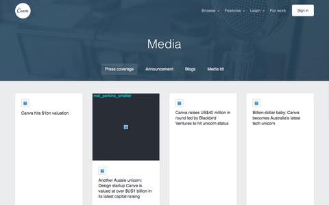 Screenshot of Press Page canva.com - Press - About Canva - captured March 18, 2018
