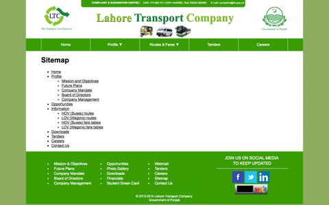 Screenshot of Site Map Page ltc.gop.pk - Lahore Transport Company (LTC) - captured Oct. 1, 2014