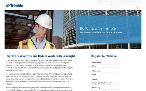 Screenshot of Landing Page trimble.com captured April 6, 2017