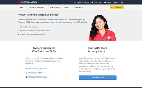 Screenshot of Support Page protectamerica.com - Customer Service and Support   Protect America - captured Feb. 4, 2017