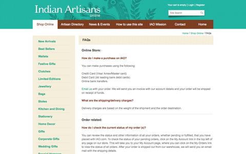Screenshot of FAQ Page indianartisansonline.com - FAQs | Indian Artisans Online - captured Sept. 24, 2014