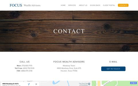 Screenshot of Contact Page focus-wa.com - Contact - FOCUS Wealth Advisors - captured Oct. 10, 2018