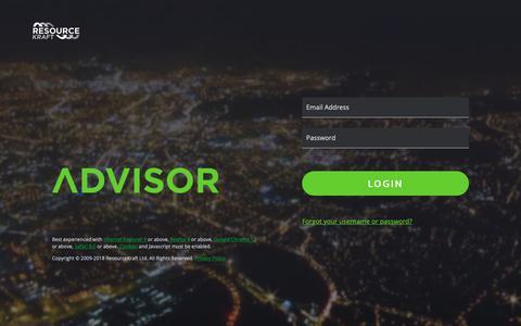 Screenshot of Login Page resourcekraft.com - Log In - ResourceKraft Advisor 10 - captured Nov. 4, 2018